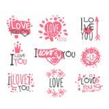 Romantische ich liebe dich Mitteilung für St.-Valentinsgruß-Tagespostkarte, bunte Grafikdesign-Schablone Logo Set, Hand gezeichne Stockbild