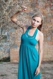 Romantische jonge blonde vrouw dichtbij olijfboom Stock Fotografie