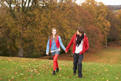 Romantische Jugendpaare, die durch Herbst gehen Lizenzfreies Stockbild