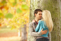 Romantische Jugendpaare durch Tree Lizenzfreies Stockfoto