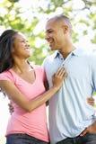Romantische junge Afroamerikaner-Paare, die in Park gehen stockfotografie