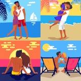 Romantische junge Paar-Ausgaben-Flitterwochen auf Strand vektor abbildung