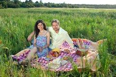 Romantische junge Paare, die ein Picknick genießen Stockbilder