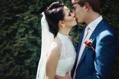 Romantische Jungvermähltenpaare, die in der Parknahaufnahme küssen und umarmen Lizenzfreie Stockfotografie