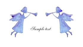 Romantische kaart met blauwe engelen royalty-vrije illustratie