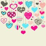 Kleurrijke achtergrond met harten Stock Foto
