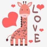 Romantische kaart met giraf Stock Afbeelding