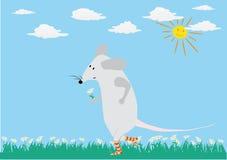 Romantische kaart met grappige muis Royalty-vrije Stock Afbeelding