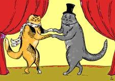 Romantische kaart met het dansen katten Stock Afbeeldingen
