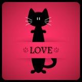 Romantische kaart met leuke kat Stock Afbeeldingen