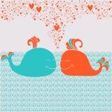Romantische kaart met leuke walvissen, harten en golven Stock Fotografie
