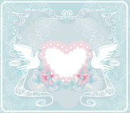 Romantische kaart met liefdevogels - Huwelijksuitnodiging Stock Foto
