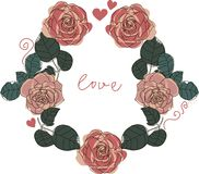 Romantische Karte der Rosen stock abbildung
