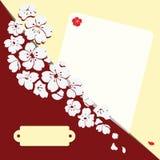 Romantische Karte mit Blumen Stockfotos