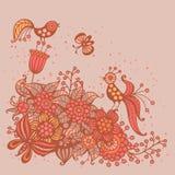Romantische Karte mit Blumen, Vögeln und Schmetterlingen Stockbilder