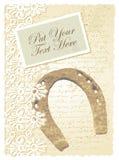 Romantische Karte mit Hufeisen Stockfotos