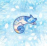 Romantische Karte mit weißem polarem Fuchs in der Karikaturart im Dschungel Blauer dekorativer Hintergrund Lizenzfreie Stockfotos