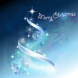 Romantische Kerstboom in blauw Stock Afbeelding