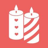 Romantische Kerze mit Herzen und Linien Flache Ikonenvektorillustration Lizenzfreie Stockbilder