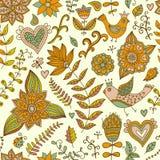 Romantische krabbel bloementextuur Exemplaar dat vierkant aan de kant en Royalty-vrije Stock Foto