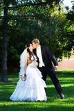 Romantische kusbruid en bruidegom Stock Afbeeldingen