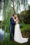 Romantische Kussbraut und -bräutigam auf schöner Natur Lizenzfreie Stockbilder