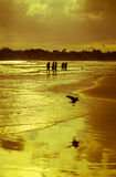 Romantische Landschaft von Weligama-Strand mit erstaunlichem Sonnenuntergang Lizenzfreies Stockbild