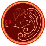 Romantische liebevolle schöne Paare in einem runden Rahmen, kreativ vektor abbildung