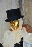 Romantische männliche goldene Maske in Venedig, Italien, Europa Lizenzfreies Stockbild