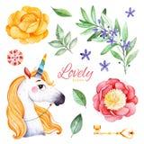 Romantische Märchen eingestellt mit Pfingstrosen, Blumen, blühender Niederlassung, Edelstein, nettem Einhorn, goldenem Schlüssel  lizenzfreie abbildung