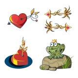 Romantische Märchen stellten mit einem Prinzessinfrosch, goldenen Pfeilen und einem h ein Lizenzfreies Stockfoto