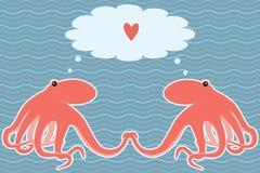 Vektorkarte mit zwei Kraken Stockbild