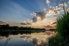 Romantische meer en rivier Stock Afbeelding