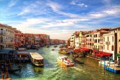 Romantische mening van Grand Canal, Venetië, Italië stock fotografie