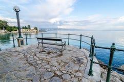 Romantische menings Adriatische Overzees, Opatije Stock Foto's