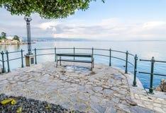 Romantische menings Adriatische Overzees, Opatije Stock Afbeelding