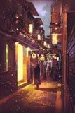 Romantische mens die zich voor een deur bij nacht bevinden royalty-vrije illustratie