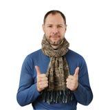Romantische mens in sjaal Stock Afbeeldingen