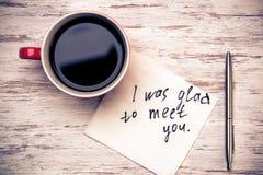 Romantische Mitteilung geschrieben auf Serviette Stockbild