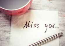 Romantische Mitteilung geschrieben auf Serviette Stockfoto