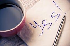 Romantische Mitteilung geschrieben auf Serviette Lizenzfreies Stockbild