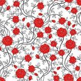 Romantische naadloos nam bloempatroon toe Stock Foto's
