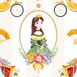 Romantische nahtlose Märchenbeschaffenheit mit Blumensträußen, Wagen, Blume, Prinzessin, Handfan, Edelstein stock abbildung