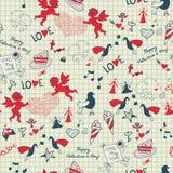 Romantische nette Skizze des Valentinsgrußes nahtlos Stockbild