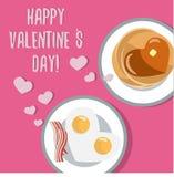 Romantische ontbijt Mooie vlakke vectorkaart voor Valentine Day Stock Fotografie