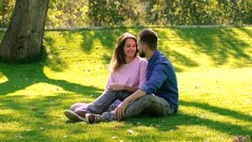 Romantische Paare, die auf grüner Wiese an einem sonnigen Tag sitzen stock footage