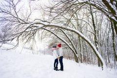 Romantische Paare, die gehen, im Winter draußen zu küssen stockbild