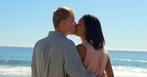 Romantische Paare, die nahe Geländern 4k sich küssen stock video footage