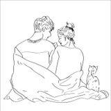 Romantische Paare mit einer Katze Sitzen auf Bett vektor abbildung