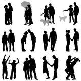Romantische Paare stellten ein Stockfoto